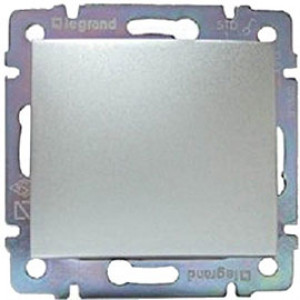 LEGRAND 770101 Выключатель 1-клавишный, 10АХ, 250В, блестящий алюминий, Valena