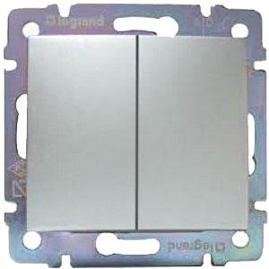 LEGRAND 770108 Переключатель на 2 направления, 2-клавишный, 10АХ, 250В, блестящий алюминий, Valena