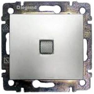 LEGRAND 770110 Выключатель 1-клавишный, с подсветкой, 10АХ, 250В, блестящий алюминий, Valena