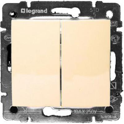 LEGRAND 774305 Выключатель 2-клавишный, 10АХ, 250В, слоновая кость, Valena