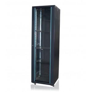Шкаф телекоммуникационный напольный 32U (600х600х1610) дверь стекло, цвет-черный