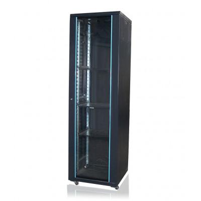 Шкаф телекоммуникационный напольный 36U (600х800х1805) дверь стекло, цвет-черный
